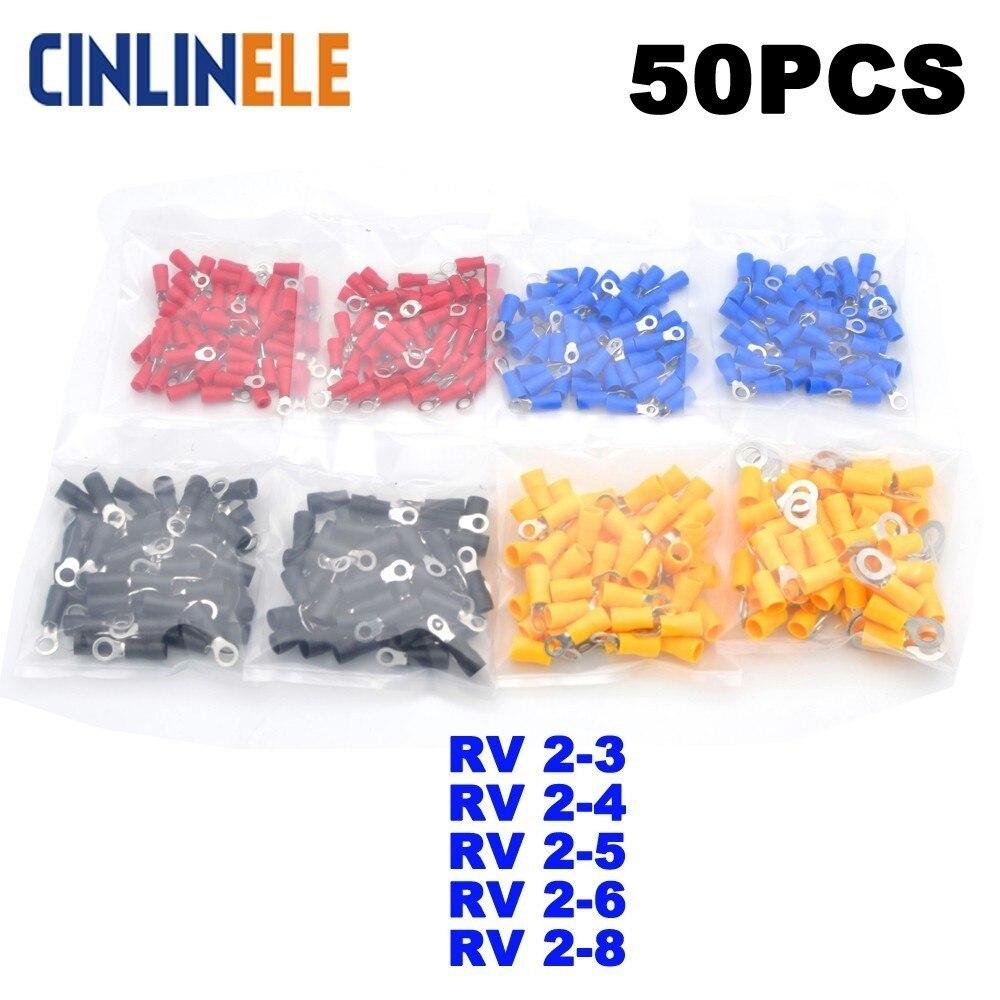 50 unids/lote anillo crimpado aislamiento Terminal RV2-3 RV2-4 RV2-5 RV2-6 RV2-8 RV2-10 de alambre de Cable conector de Cable RV