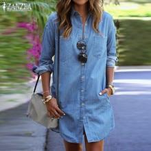 ZANZEA Women Denim Dress 2020 Autumn Casual Loose Long Sleeve Button Shirt Dresses Mini Vestidos Blouse Tops Jeans Plus Size