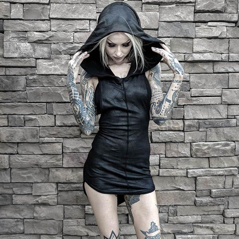Rosetic mulheres mini vestidos preto sexy chique gótico bodycon com capuz simples assimétrico dividir feminino festa punk curto clube vestidos