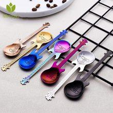 Cuillère en acier inoxydable à café guitare   Créatif, forme de guitare, thème musical, thé cuillère à remuer, petite cuillère à Dessert glaces couverts cadeaux