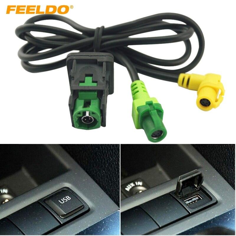 FEELDO 10 coche OEM RCD510 RNS315 Cable USB con interruptor para VW Golf MK5 MK6 VI 5 6 Jetta CC Tiguan Passat B6 reposabrazos posición