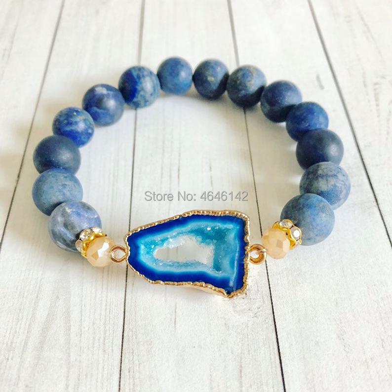 druzy geode slice connector charm blue lapis stone stretch bracelet