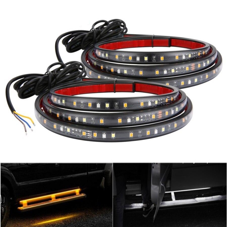 "2 uds 60 ""Car Side Kick Running Board tiras LED secuencial señal de giro fluctuante impermeable 12V ámbar y blanco Universal"