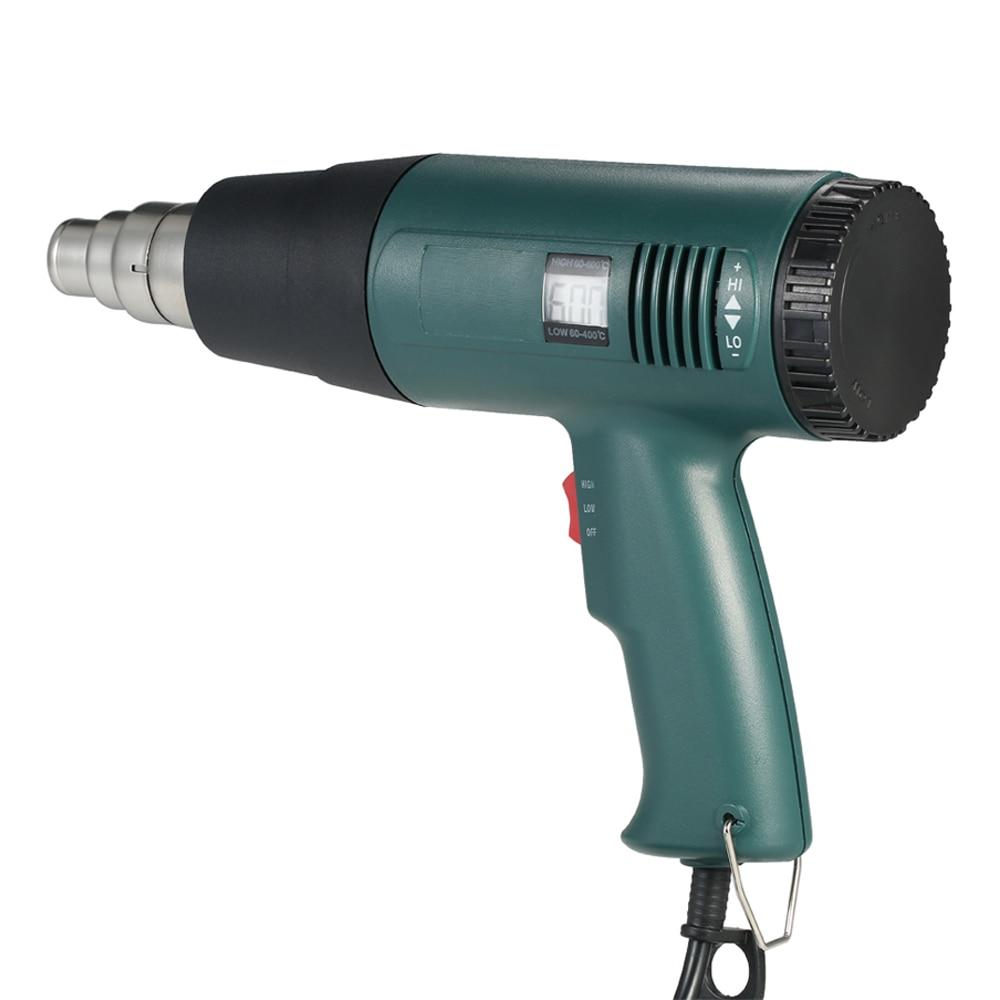 Pistola de aire caliente eléctrica de 1800W 220V, conjunto de herramientas de pistola de calor termorregulador, pantalla LCD con 4 uds, boquillas EU US Plug