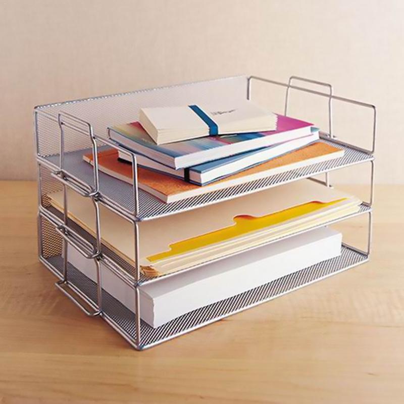 Organizador de papel de oficina de AUGKUN archivo de documento libro de cartas folleto bandeja de llenado estante portador de Metal Alambre de malla de almacenamiento titular