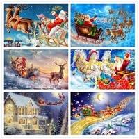 diy diamond painting santa claus cross stitch 5d square diy diamond mosaic scenery diamond embroidery rhinestones christmas gift