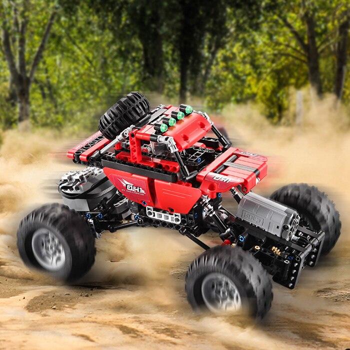 489 Uds. CaDA bloques de construcción de juguete todoterreno con Control remoto Estructura de coche estable carreras/escalada de doble modo
