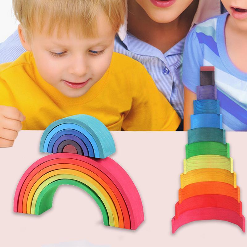 Bebé Arco Iris apilador anidar rompecabezas bloques 12 piezas bloques de construcción de madera instrumento de iluminación de educación temprana para niños
