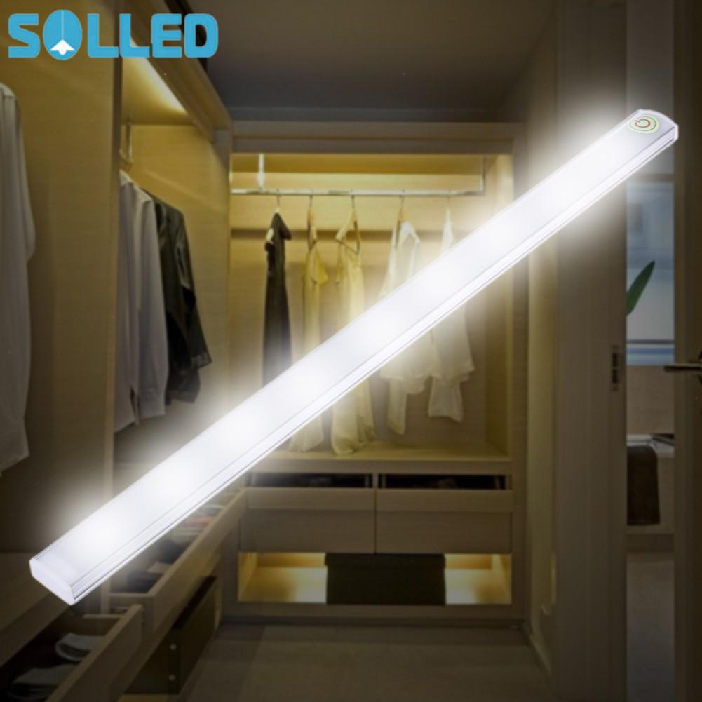 SOLLED 21 LEDs Light 5V Touch Sensor Dimmable Under Cabinet Light Wardrobe Kitchen Stair Light Night Lamp Hard Rigid Bar Light