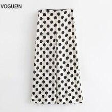 VOGUEIN New Womens Big Polka Dot Print Wide-legging Zipper Summer Pants Trousers Wholesale