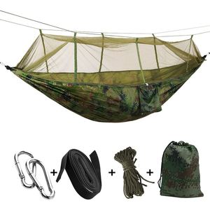Promotion! Portable Camo High Strength Parachute Fabric Camping Hammock Hanging Bed With Mosquito Net Sleeping Hammock Camo