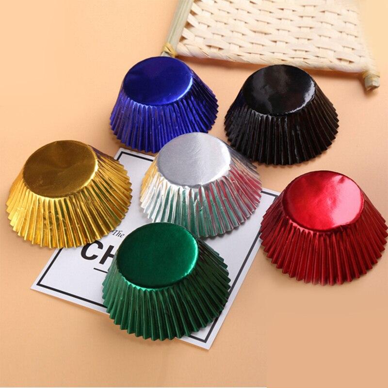 ¡Envío gratis 100 Uds oro/plata/Rojo/azul/negro/Rosa papel de aluminio Cupcake Liners Color puro Magdalena de repostería taza torta envoltorios caja!