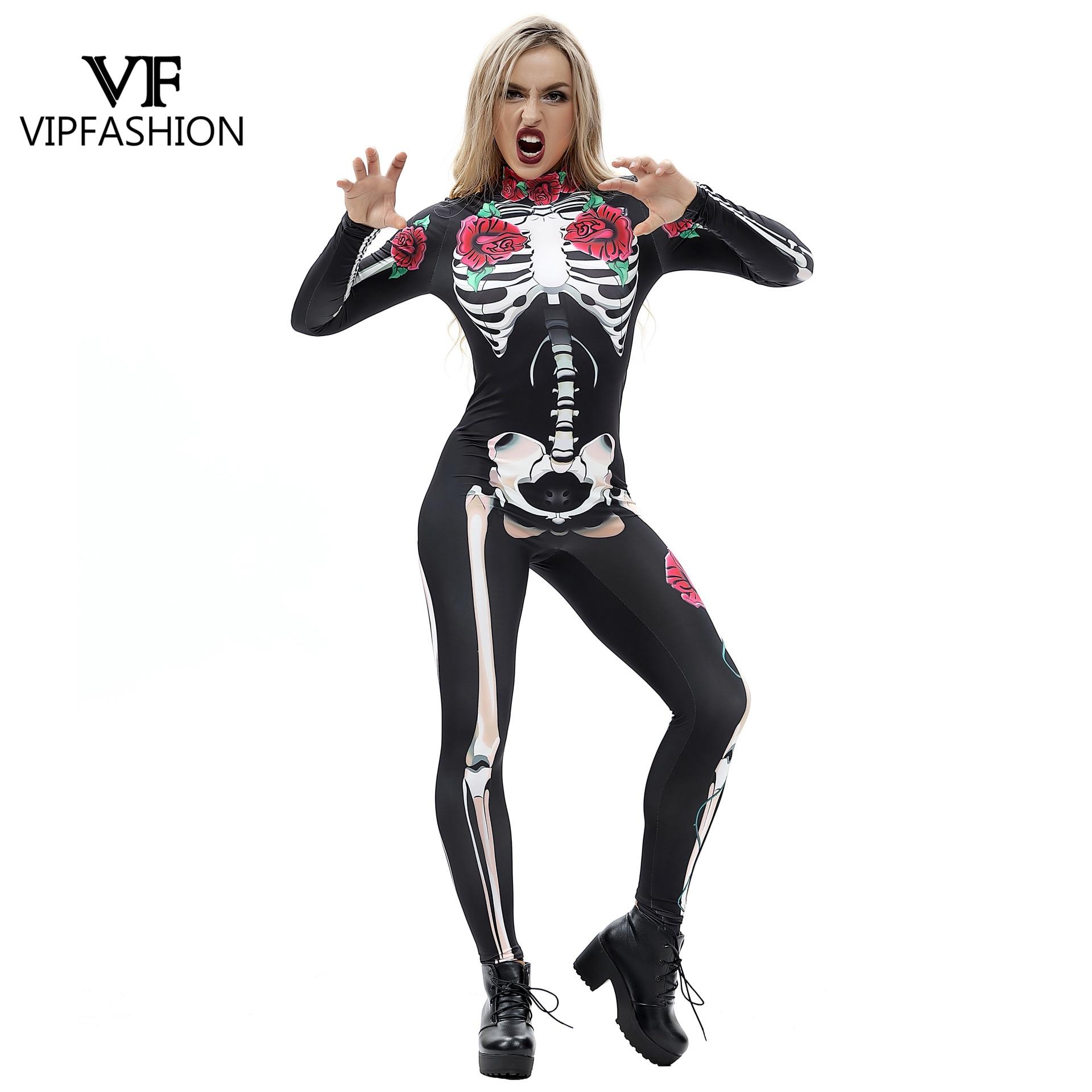 VIP mode 3D Rose mécanique os barboteuses effrayant Halloween Costumes pour femmes combinaison squelette crâne Floral papillon body