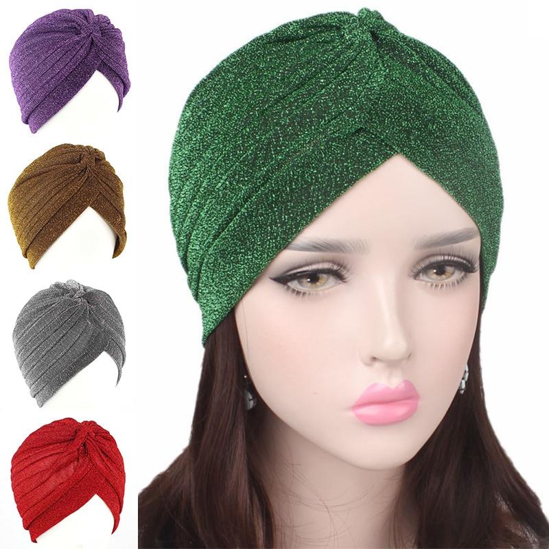 AliExpress - 2020 Women Fashion New Gold Shiny Turban Stretchable Soft Bright Hat Indian Style Muslim Thin Hijab Turban Head Wraps