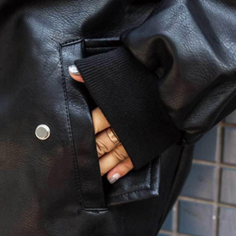 Best Faux Leather Female Coat Pink PU Bomber Jacket Women Spring Plus Szie Basic Jacket 2019 Autumn Fashion Soft Outerwear PJ327 enlarge