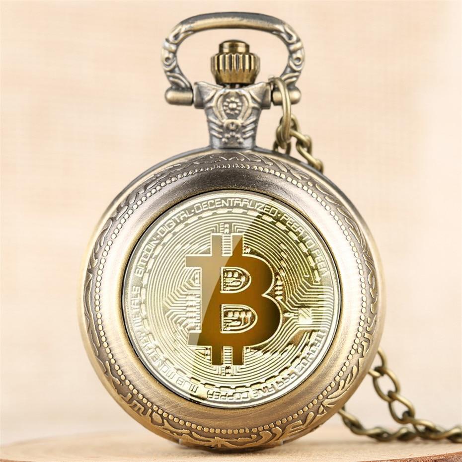 Exquisite Bitcoin Design Full Hunter Quartz Pocket Watch Numerals Display Pendant Clock Men Women wi