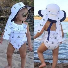 Barboteuse dété à volants pour petites filles   Mignonne, combinaison imprimée dancre, tenues de soleil pour nouveaux-nés enfants, vêtements pour enfants 0-24M