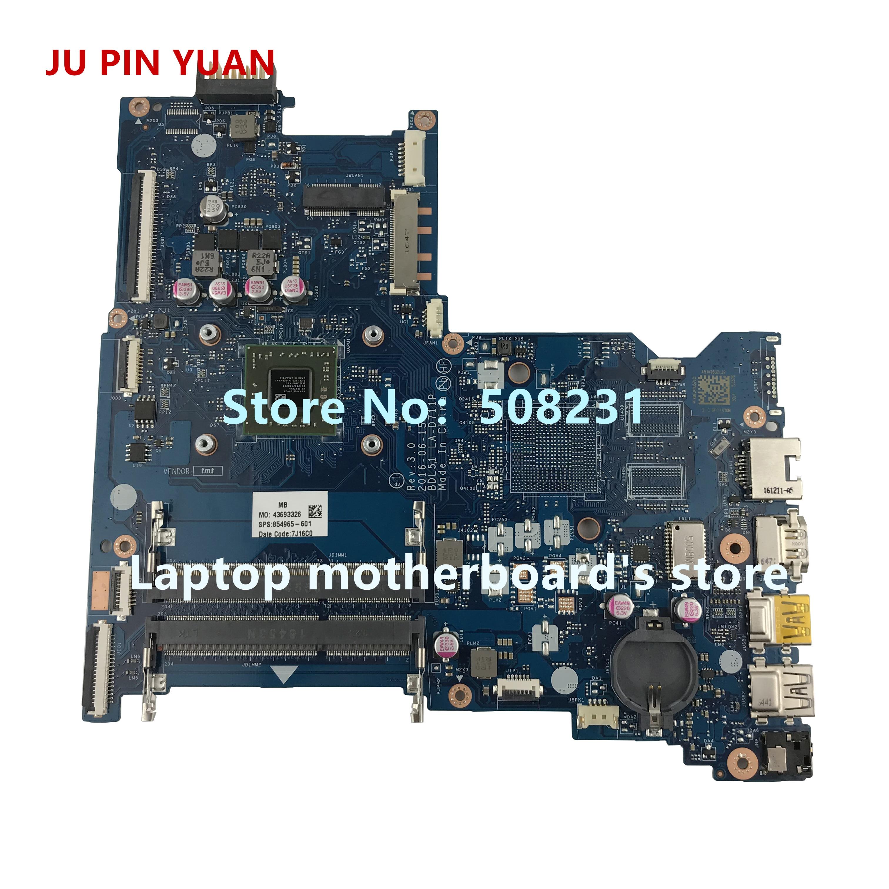 La-d711p para hp Yuan 854965-001 15-ba 15z-ba A6-7310 15-ba026ca Laptop Motherboard Totalmente Testado ju Pin 854965-601 854965-501
