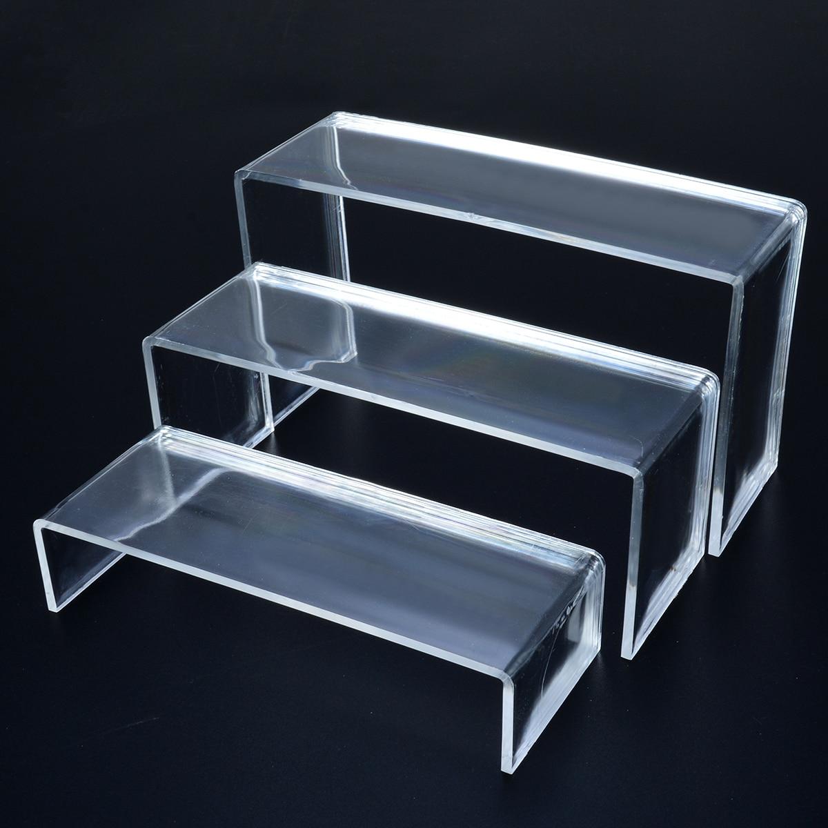 Présentoir acrylique Transparent de 3 pièces   Support multifonctionnel de rangement de chaussures, présentoirs de chaussures, support dexposition de cosmétiques