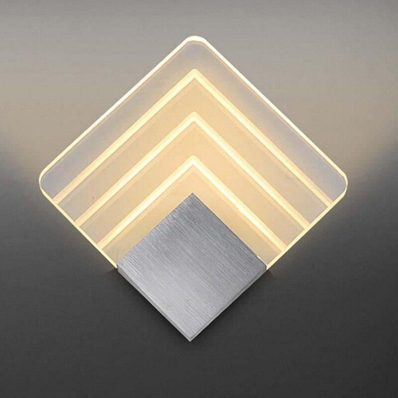 Lámpara de pared Led de 5 w de interior ultrafina pequeña cuadrada Ac 220 v de aluminio Sconce Ktv/Bar moderno alto decoración de luz nocturna de calidad