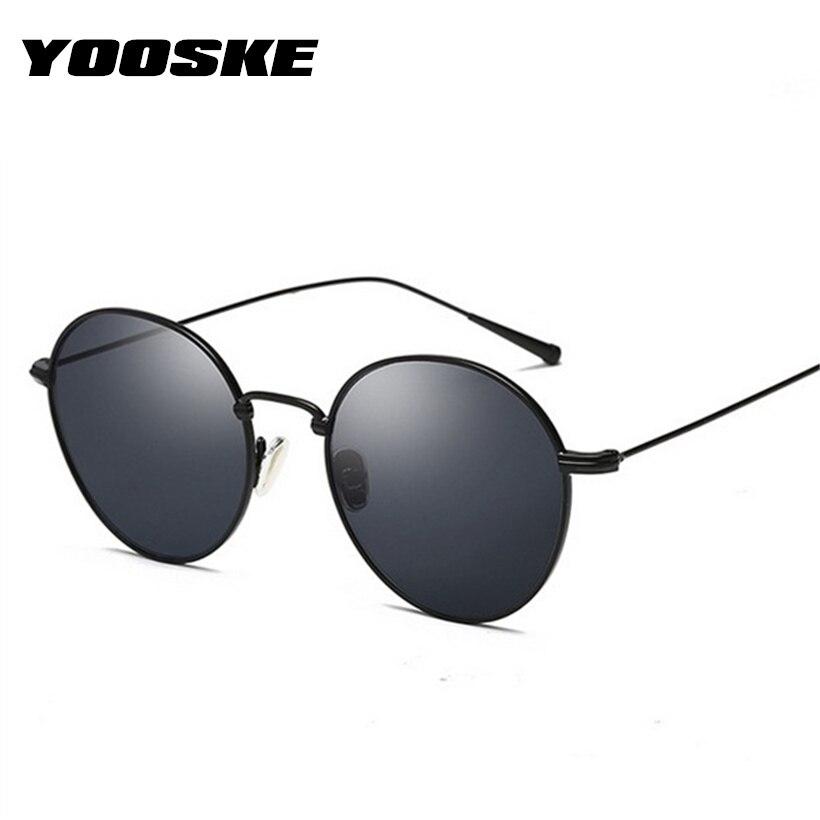 YOOSKE נשים קטן משקפי שמש אופנה מותג Desinger עגול משקפיים שמש לגברים שחור משקפיים באיכות גבוהה משקפיים UV400