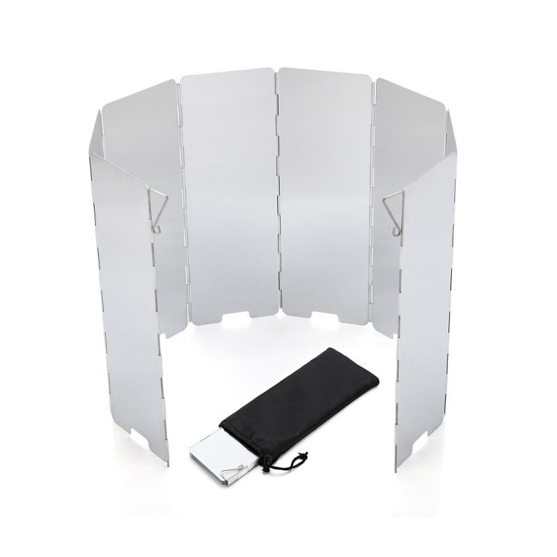 VIM plegable al aire libre quemador parabrisas al aire libre Camping Gas de la cocina estufa viento pantalla viento escudo equipo de Camping 8 platos