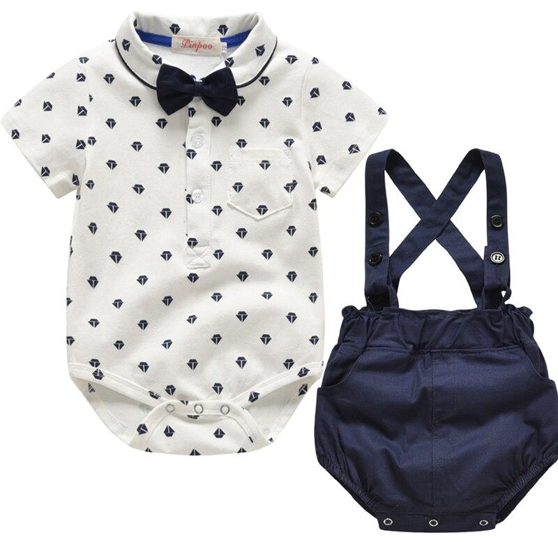 Body de manga corta para niños y bebés, conjunto de ropa para niño pequeño de verano del 2019, mono de caballero, Tops, pantalones cortos, traje, 2 uds