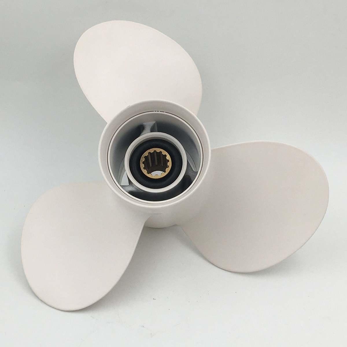 Blanco hélice fuera de borda de aluminio 11 1/8x13 para Yamaha 25-60HP 69W-45945-00-EL hélice Marina barco accesorios de partes de
