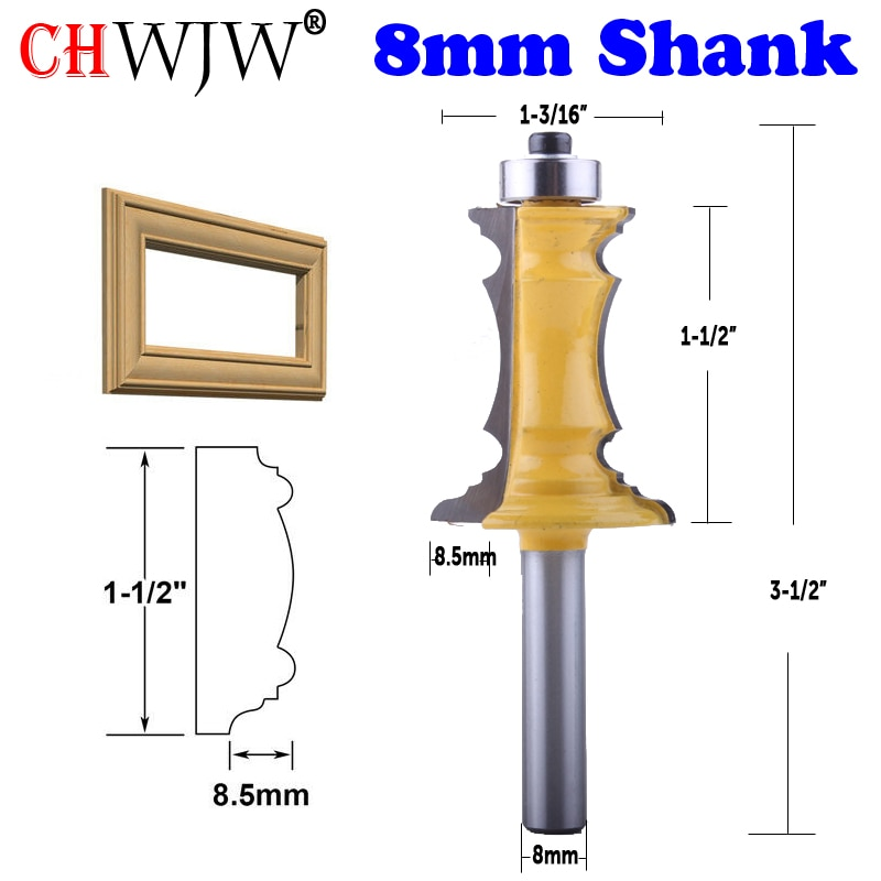 """CHWJW 1 шт. 8 мм хвостовик 1-1/2 """"Торцевая рама формовочная фреза для резки ножей для дверей нож для резки тенона для деревообрабатывающих инструментов"""