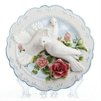Sunforever Pigeon Decorative Wall Dishes Porcelain Decorative Plates Vintage Home Decor Crafts Room Decoration Figurine
