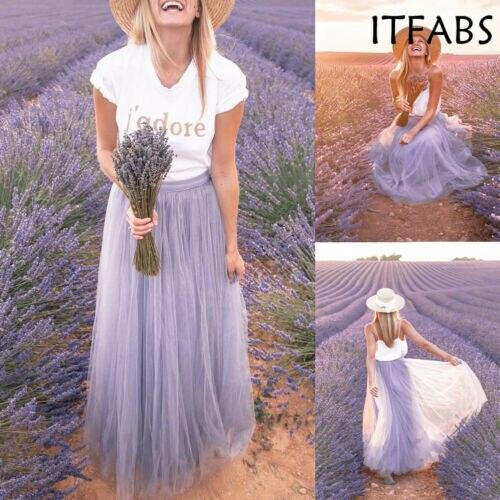 Faldas de moda Maxi largas de malla de tul Línea A para mujeres cintura alta elástica Lolita elegante chicas Juniors baile de graduación falda Formal de fiesta