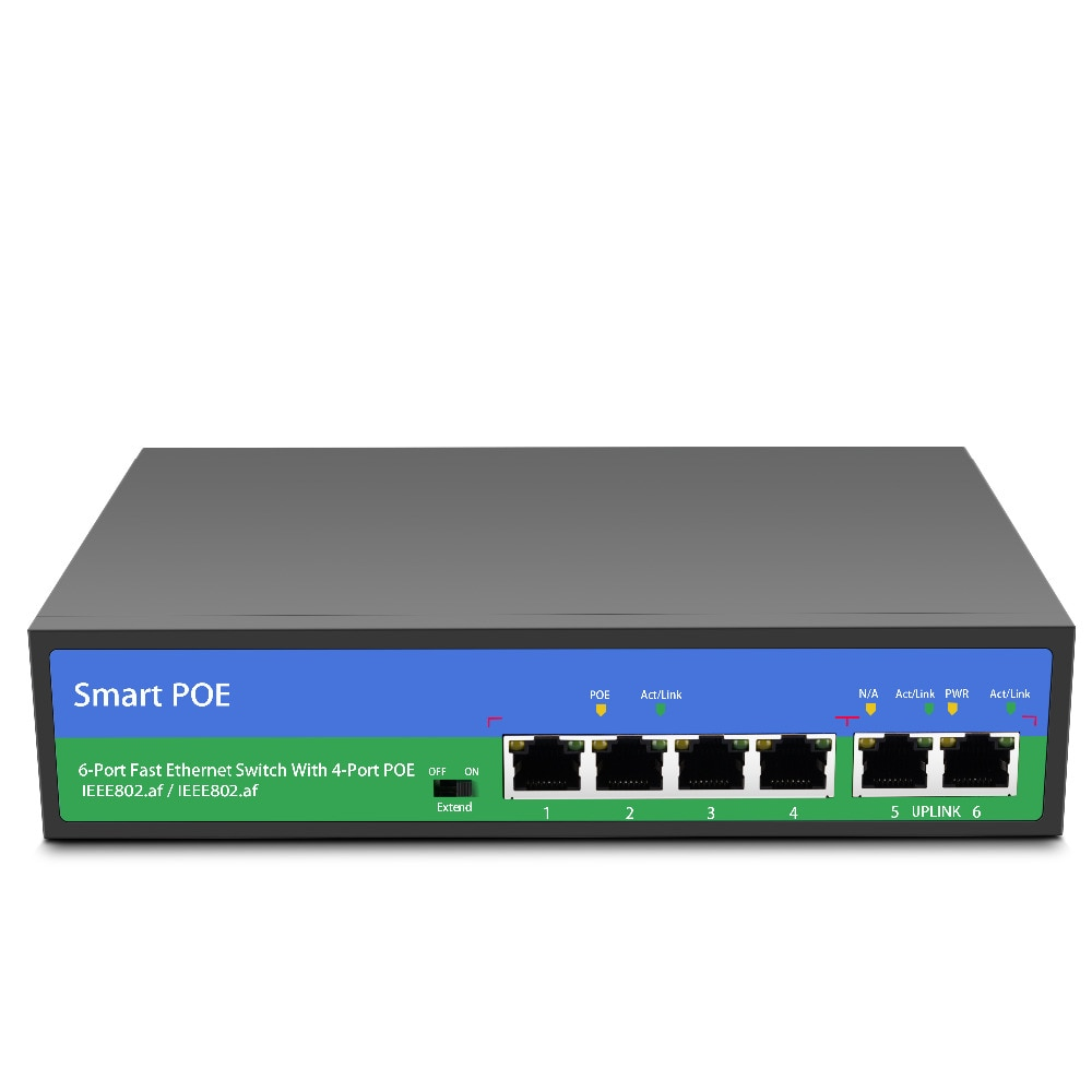 YiiSPO Network POE switch Ethernet with 4+2/8+2ports 10/100Mbps Ports IEEE 802.3 af/at  standard POE 48V output for POE camera enlarge
