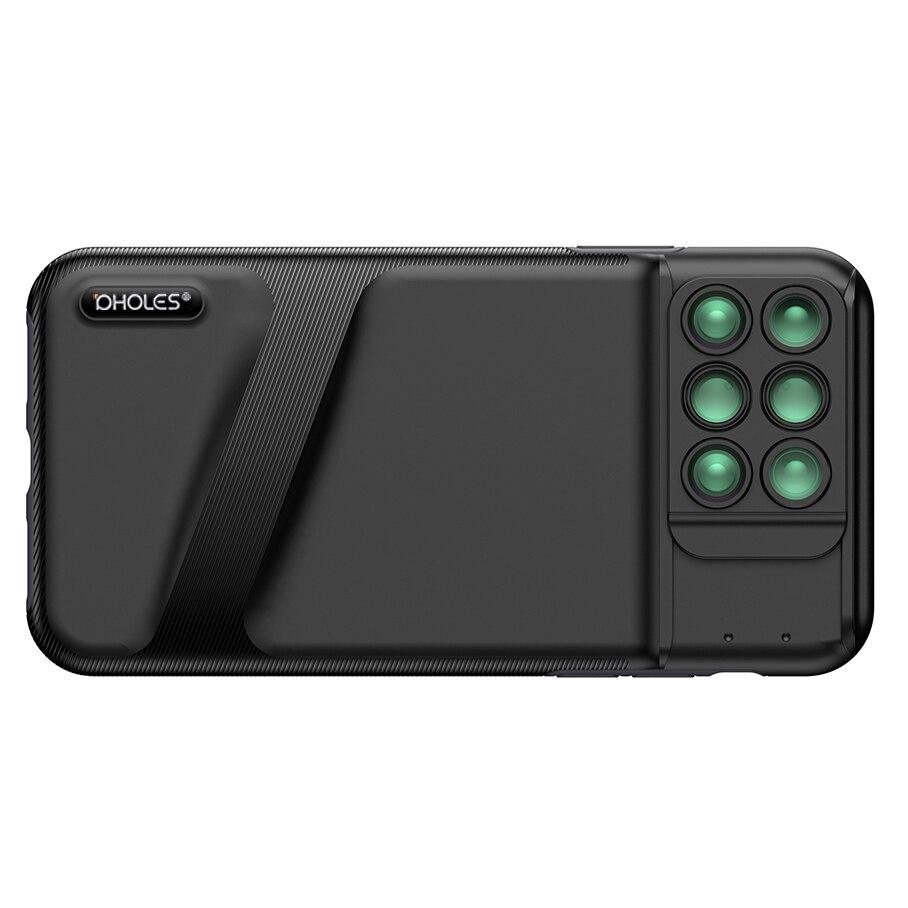 Caso do telefone com lente da câmera dupla para o iphone xs 6 em 1 olho de peixe grande angular macro zoom lentes