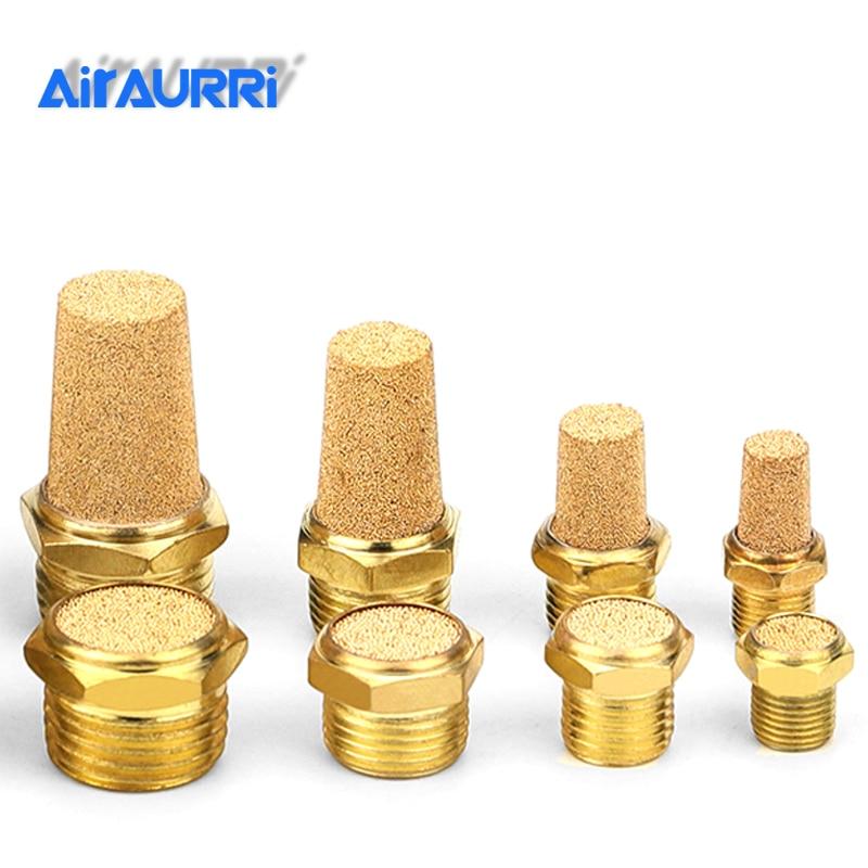 """Пневматический латунный для глушителя выхлопного звука BSL M5 1/8 """"1/4"""" 3/8 """"1/2"""" глушители штуцер шумо фильтр редуктор разъем медь"""