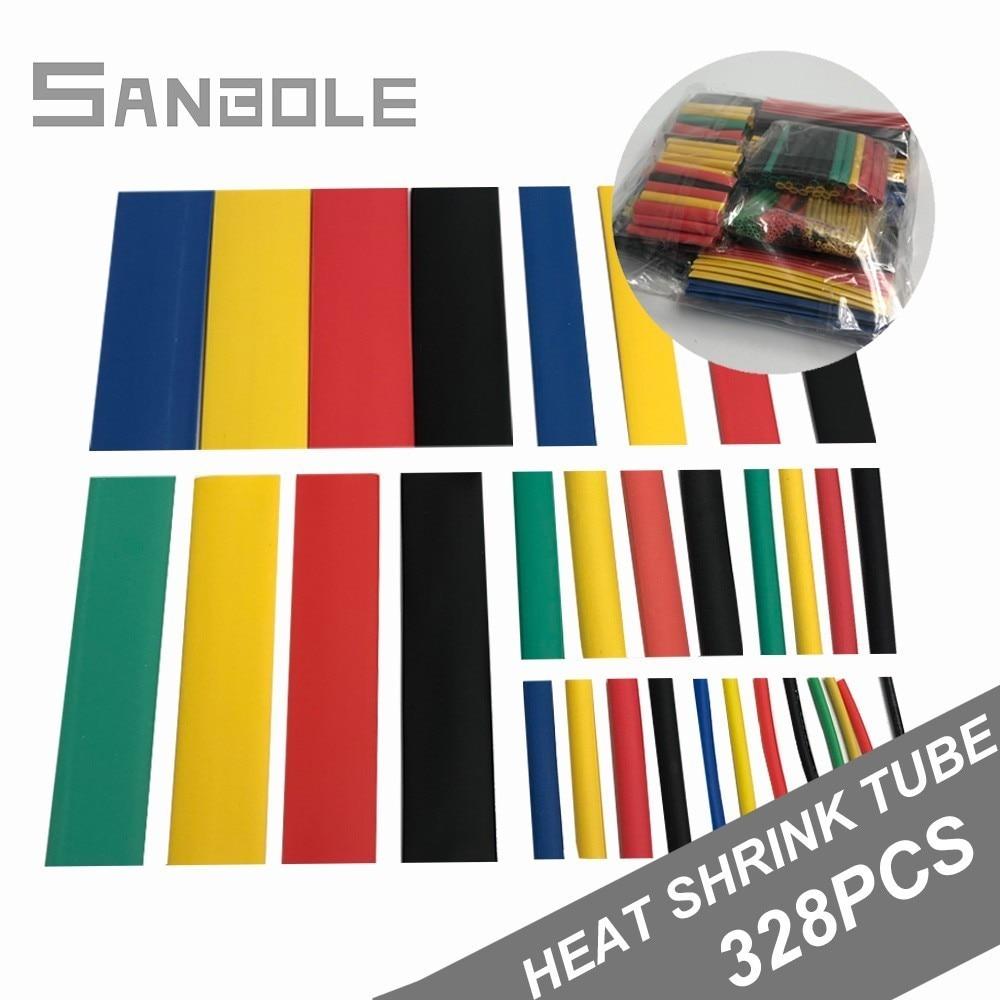 Tubo termorretráctil, 328 Uds., Mangas de Cable, aislamiento de caucho eléctrico combinado, envoltura de alambre de poliolefina surtida