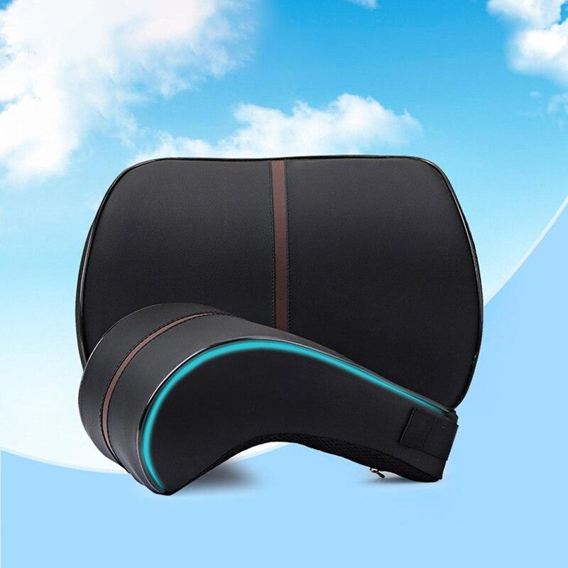 1 piezas de cuero de la PU de Auto cuello almohada almohadas de espuma de memoria cuello cubierta de asiento de coche resto reposacabezas del asiento cojín vehículos de almohada