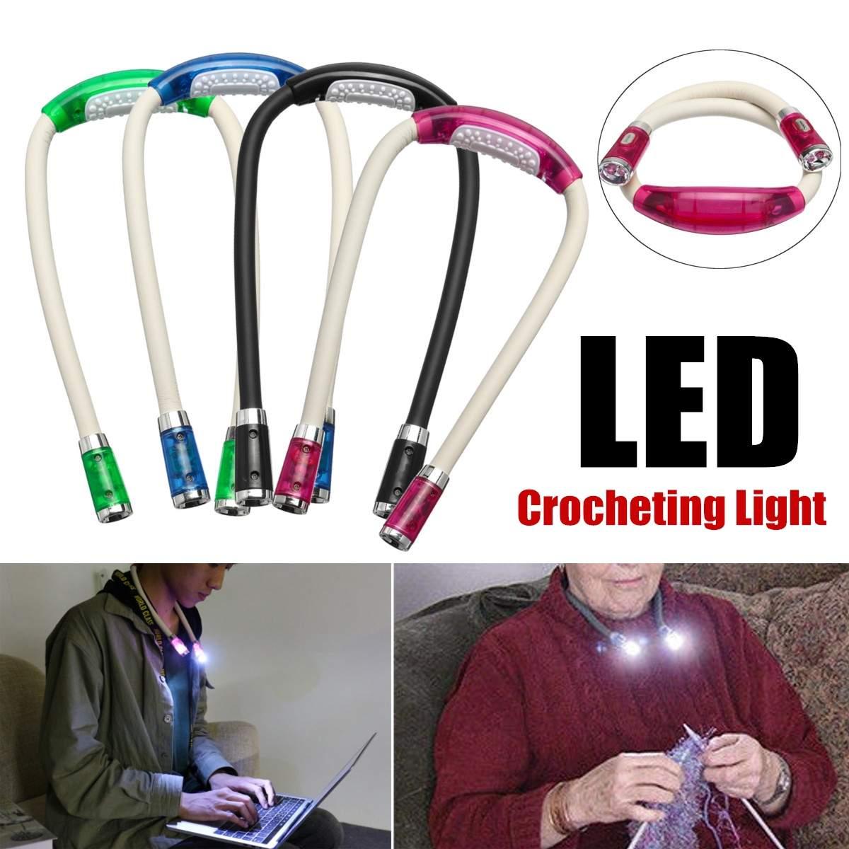 LED צוואר לילה אור גמיש סריגה סורגת ספר אור דיבורית קריאת מנורת תאורה פנימית 4 צבעים סוללה מופעל