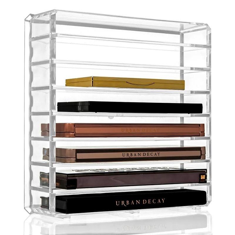 Organizador de maquillaje transparente desmontable, cojín de aire/lápiz labial/polvo/sombra de ojos, estante de almacenamiento de cosméticos, organizador de cajón