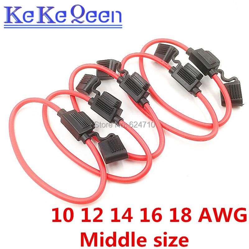 50 unids/lote 10 12 14 16 18 AWG soporte de fusible de coche mediano resistente al agua automotriz con cubierta en línea auto