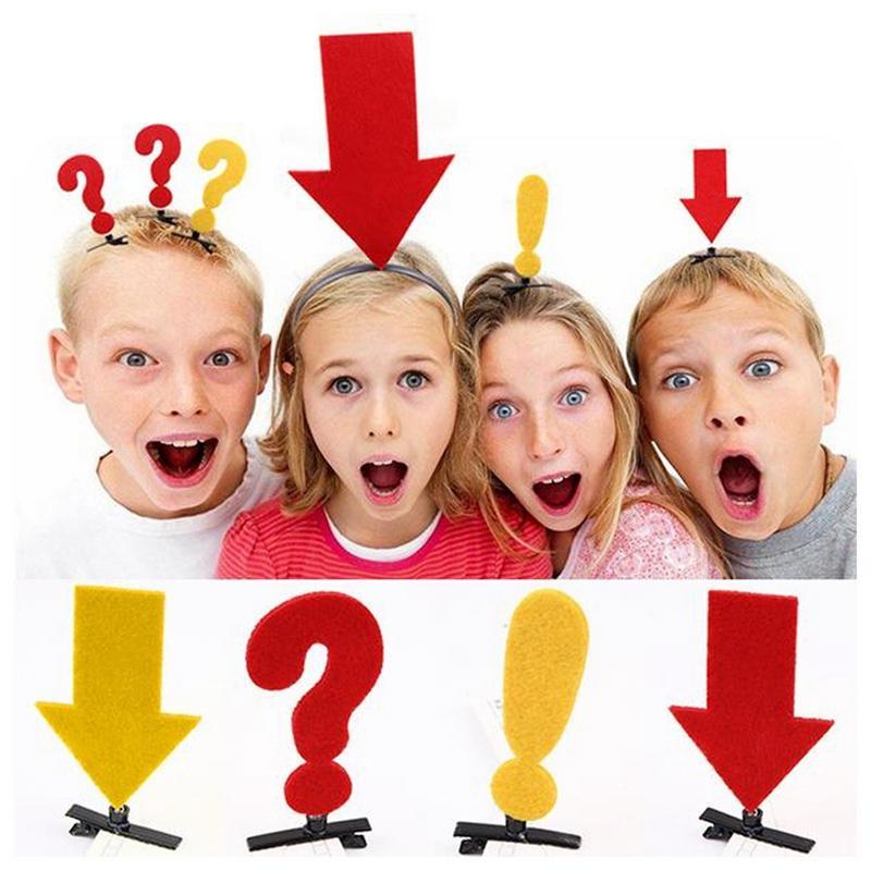 1 Pza. Divertido para niños con horquillas signo de interrogación, horquillas con temporizador automático, diadema con flecha para accesorios de fotografía, horquillas para el pelo para niños, navidad