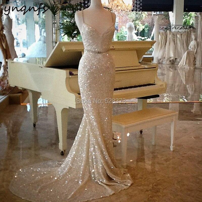 YNQNFS M117 الذهب الشمبانيا أنيقة الترتر ثوب Vestidos دي غالا حورية البحر الرسمي اللباس 2019 الأم من فساتين العروس