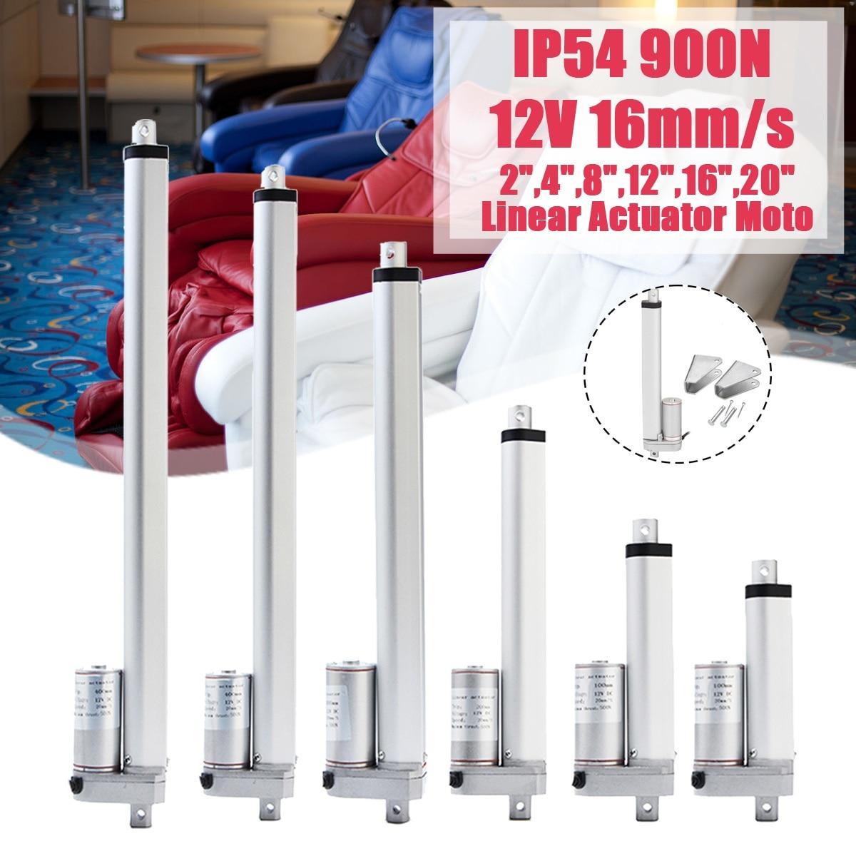 900N 2 4 8 12 16 20 بوصة 12V 16 مللي متر/ثانية صغيرة DC الكهربائية دفع قضيب الأبيض المواد سبائك الألومنيوم المحرك الخطي