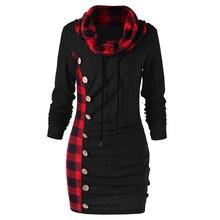 Wipalo Cowl Neck Tunic Plaid Trim Casual Sweatshirt Dress Autumn Long Sleeve Sheath Bodycon Dress Female Vestidos Plus Size 2XL