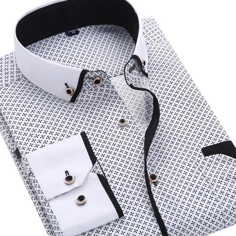 2020 Men Fashion Casual Long Sleeved Printed shirt Slim Fit Male Social Business Dress Shirt Brand Men Clothing Soft Comfortable