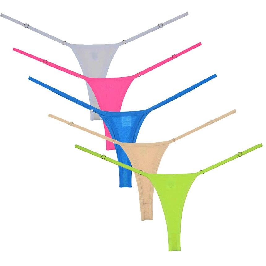 3Pcs/Lot Women G-String Adjustable Very Low Rise Underwear Perfect Fit Spandex Micro Thong Panties Ropa Interior Femenina