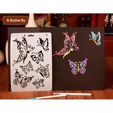 Modèle creux dessin peinture outils pochoirs beau papillon thème pour bricolage Scrapbooking plastique règle Photo Album décor