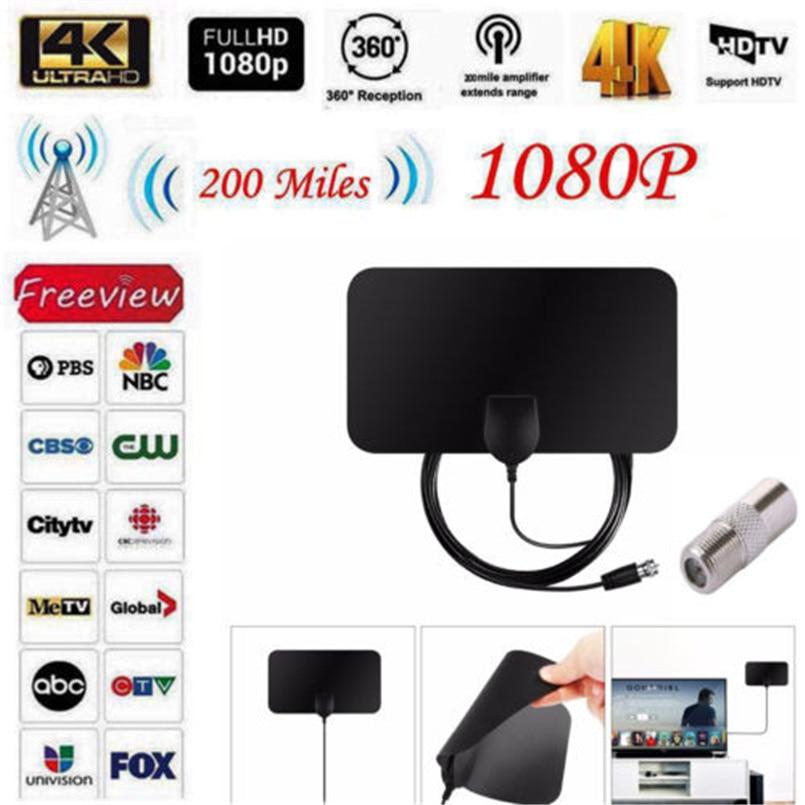 Antena de TV HDTV de interior antena de TV amplificada de interior HDTV 200 millas Digital 1080 p VHF  UHF 4 K antena 2B04