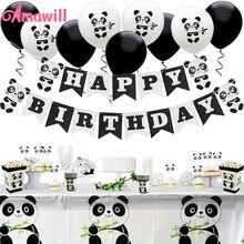 Amawill Panda Party Decoraties Levert Gelukkige Verjaardag Banner Panda Ballonnen Cake Toppers Gift Bags Voor Baby Shower Jongen Meisje 7D
