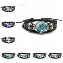 Tortue de mer dauphin coquillages noir tressé cuir bouton Bracelet verre dôme pendentif mode bijoux océan Souvenir cadeau