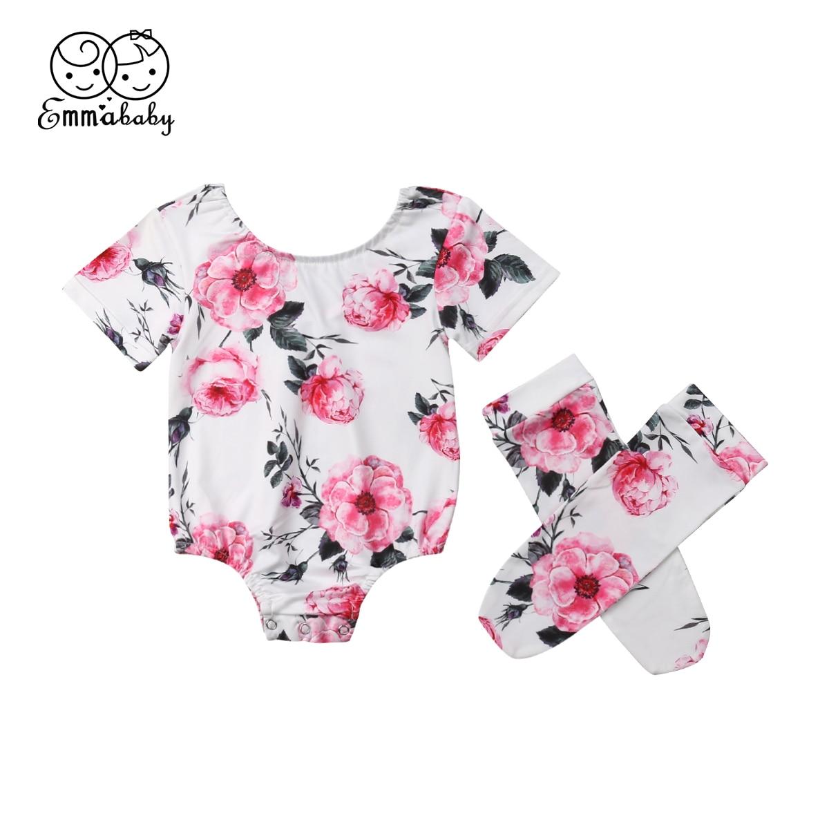 Neue Niedliche Neugeborenen Baby Mädchen Floral Body Overall Kleidung Socken Outfits